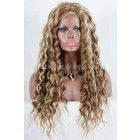 Blonde Highlights Curly Hair Chinese Virgin Hair Full Lace Wigs{ Not In Stock,Production Time 40 working days }
