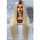 """Custom Made 6""""x6"""" Glueless Silk Top Full Lace Wigs Platinum Blonde Hair, Grade A+ Luxury Ponytail Virgin Hair Silky Straight [Production Time 120 working days]"""