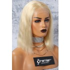 """613# Blonde Hair Bob Cut 4.5"""" Lace Front Wig,Indian Remy Hair Silky Straight 14"""""""