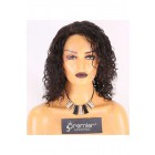 Clearance Lace Front Wig,Indian Remy Hair,Natural Curl,1B#Color,14 inches,130% Density,Average Size, Medium Brown Lace