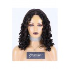 Average Size Curly Full Lace Wig Brazilian Virgin Hair 20 inches 1B# Off Black, 120% Normal Density, Light Brown Lace