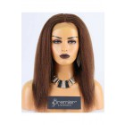Clearance Full Lace Wig,Kinky Straight,Indian Remy Hair,4#,14 inches,120% Density,Medium Cap Size,Light Brown Lace With Adjustable Strap And Clips