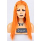 Clearance Full Lace Wig Straight,Chinese Virgin Hair,Orange Color,120% Normal Density,Medium Cap Size,Light Brown Lace