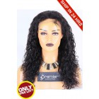 Super Deal 18 inches Lace Front Wig 15mm Curl Brazilian Virgin Hair,Natural Color,Medium Size, 130% Normal Density,Medium Brown Lace
