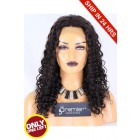 Super Deal 18 inches Lace Front Wig 18mm Curl Indian Remy Hair,Natural Color,Average Size,150% Thick Density,Medium Brown Lace