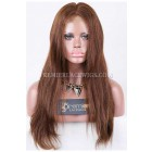 Clearance Full Lace Wig,Indian Remy Hair,Light Yaki,4#,18 inches,120% Normal Density,Small Size,Light Brown Lace