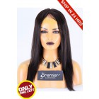 Super Deal 50% Off Yaki Straight Lace Frontal Wig, Indian Remy Hair Natural Color 16 inches 130%, Medium Size, Medium Brown lace