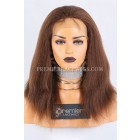 Clearance Silk Top Full Lace Wig,Kinky Straight,Indian Remy Hair,4# Color,14 inches,130% Density,Medium Cap Size