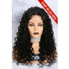 Chloe- 13x3 Lace Frontal Wig 1B# 18 inches,150% Density Curly Style Middle Part Indian Remy Hair,Removable Elastic Bands