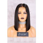 "13""x4.5"" Lace Frontal Wig,Middle Part Silky Straight Bob,14"" 150% Thick Density [Advanced Pre-Bleached Knots,Pre-Plucked Hairline,Pre-Added Removable Elastic Band]"