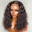 """Super Thin Transparent HD Lace, 5""""x5"""" HD Lace Closure Wig, Deep Curly Indian Remy Human Hair  [Pre-bleached knots only for natural black color, Pre-plucked hairline, Removable elastic band]"""