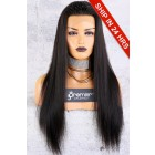 Affordable 13x4.5 Lace Frontal Wig,Yaki Straight Indian Remy Hair Natural Color,150% Thick Density,Average Cap Size [Advanced Pre-Bleached Knots,Pre-Plucked Hairline,Pre-Added Removable Elastic Band]