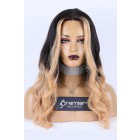 Black Blonde Ombre Middle Part T Lace Wig, Indian Remy Human Hair 20 inches 150% Thick Density, Average Size