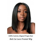 Trendy Bob Cut Lace Frontal Wig, Brazilian Virgin Human Hair,Yaki Texture Straight
