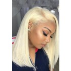 "613# Blonde Hair Bob Cut 4.5"" Lace Front Wig Silky Straight"