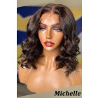 Michelle--Bomb Wavy Bob Lace Front Wig Indian Remy Human Hair Natural Color [Pre-bleached knots, Pre-plucked hairline, Removable elastic band]