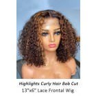 Camille--Highlights Hair Curly Bob Cut Lace Frontal Wig,150% Thick Density [Pre-Bleached Knots,Pre-Plucked Hairline,Removable Elastic Band]