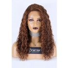 Highlights Brown Curly Style Right Side Part Lace Wig,Indian Remy Hair 18 inches 130% Normal Density,Average Size,Medium Brown Lace