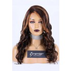Affordable Real Scalp Silk Top Side Parting Wig,Highlights Brown Hair Wavy Style,150% Thick Density, Indian Remy Human Hair