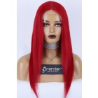 Red Hair Middle Part T Lace Wig, Indian Remy Human Hair 18 inches 130% Normal Density, Average Size