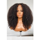 Affordable Lace Parting Wig Kinky Coily Indian Remy Human Hair
