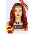 """Super Deal 5""""x5"""" Lace Closure Wig,Ginger Hair Dark Roots, Indian Remy Human Hair Body Wave,16 inches 180% Thick Density, Average size, Dark Lace, Pre-plucked hairline, Removable elastic band"""
