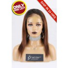 Super Deal Full Lace Wig,Brazilian Virgin Hair Ombre Brown Color,12 inches Silky Straight 150% Density, Small Size,Light Brown Lace.