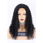 Affordable Middle Part Lace Wig Yaki Curly Indian Remy Human Hair 150% Thick Density, Average Size