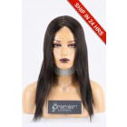 Super Deal Silk Part Affordable Wig,Middle Part,Indian Remy Hair Natural Color,14 inches Yaki Straight 130% Thick Density, Medium Size