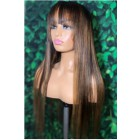 """Blonde Highlights Bone Straight Full Bangs Wig With Real Scalp 3.5""""×3"""" Silk Top,Indian Remy Human Hair"""