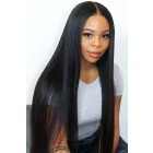 """Light Yaki Texture Hair Straight 13""""x6"""" Lace Frontal Wig [Pre-bleached knots only for natural black,Pre-plucked hairline,Removable elastic band]"""
