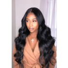 "Body Wave 13""x6"" Deep Middle Part Lace Frontal Wig. [Pre-Bleached Knots,Pre-Plucked Hairline,Removable Elastic Band]"