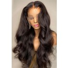 "22 inches Gorgeous Wavy Style 13""x4"" Lace Front Wig, Indian Remy Human Hair Natural Black Color 150% Thick Density  [Pre-bleached knots, Pre-plucked hairline,Removable elastic band]"