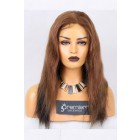 Clearance Full Lace Wig,Indian Remy Hair Straight,2#/6#,18 inches,120% Normal Density,Medium Size,Light Brown Lace
