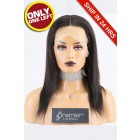 Super Deal Full Lace Wig,Indian Remy Hair Natural Color,12 inches Natural Straight 120% Density, Large Size,Transparent Lace Color