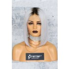"Gray Hair Dark Roots Bob Cut,4.5"" Lace Front Wig,Silky Straight 150% Density"