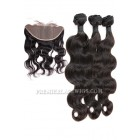 Indian Virgin Hair Body Wave A Lace Frontal With 3 Bundles Deal