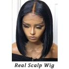 Real Scalp Silk Top, Bob Cut Bone Straight Lace Front Wig,150% Thick Hair Density