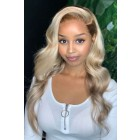 """Ash Blonde Wavy Hair Dark Roots 6"""" Lace Frontal 360 Wig,150% Thick Density,Pre-Plucked Hairline, Removable Elastic Band"""