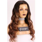 """Evelyn--Gorgeous Wavy Hair Ombre Highlights 13""""x4"""" Lace Frontal Wig [Pre-bleached knots, Pre-plucked hairline, Removable elastic band]"""