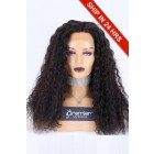 Glueless Lace Front Wig Tight Curly,Peruvian Virgin Hair 22 inches,Natural Color,180% Thick Density,Average Size