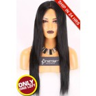 Super Deal 24 inches,1#, Lace Front Wig Silky Straight Indian Remy Hair,Average Size,130% Normal Density