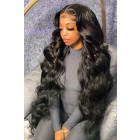 """26-32 inches Extra-Long 13""""x4"""" Lace Front Wig,Indian Remy Human Hair Body Wave, Natural Color 180% Thick Density [Pre-bleached knots, Pre-plucked hairline,Removable elastic band]"""