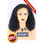 Super Deal 50% Off Curly Lace Frontal Wig, Indian Remy Hair 1# 14 inches 130%, Medium Size, Medium Brown lace