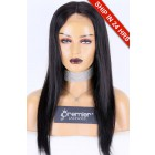 Glueless Lace Front Wig Silky Straight,Chinese Virgin Hair 18 inches,1B#,130% Density,Average Size
