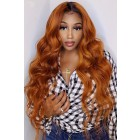 "Ginger Hair With Dark Roots Super Thin Transparent 5""x5"" HD Lace Closure Wig, Indian Remy Human Hair Body Wave [Pre-bleached knots, Pre-plucked hairline, Removable elastic band]"