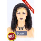 Super Deal 50% Off  Kinky Curly Lace Front Wig, Brazilian Virgin Hair 1B# 14 inches 130%, Medium Size, Medium Brown lace