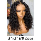 "Super Thin Transparent HD Lace, 5""x5"" HD Lace Closure Wig, Deep Curly Indian Remy Human Hair  [Pre-bleached knots only for natural black color, Pre-plucked hairline, Removable elastic band]"