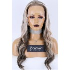 "Gorgeous Wavy Ash Blonde Gray Ombre Human Hair 13""x4"" Lace Frontal Wig,Pre-plucked hairline,Removable elastic band"