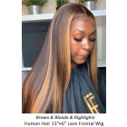 Highlight Hair Bone Straight Human Hair Lace Frontal Wig [Pre-bleached knots,Pre-plucked hairline,Removable elastic band]